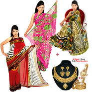 Stylish 3 Printed Georgette Sarees + Classic 1 Gram Gold Plated Jewellery