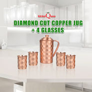 Diamond Cut Copper Jug + 4 Glasses