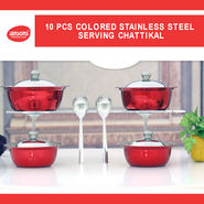 10 Pcs Colored Stainless Steel Serving Chattikal