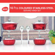 10 Pcs Colored Stainless Steel Serving Handi Set