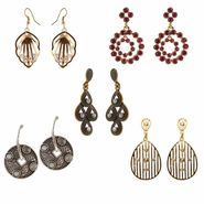 Kriaa Gold Plated Multicolor 5 Set of Earrings Jewellery Combo_1001821