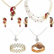Kriaa Zinc Alloy Multicolor Set of 6 Jewellery Combo_1001908