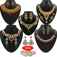 Kriaa Combo of 5 Jewellery Set With Free Earring & kada