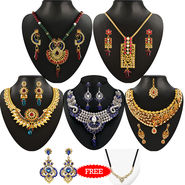 Kriaa Combo of 5 Jewellery Set With Free Manglasutra & Earring