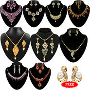 Kriaa Combo of 9 Ethnic Jewellery Set With Free Earring