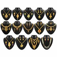 Kriaa Gold Plated Multicolor Set of 14 Jewellery Combo_1002313