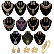 Kriaa Zinc Alloy Multicolor Set of 14 Jewellery Combo Set_1002505