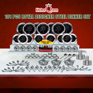 101 Pcs Royal Designer Steel Dinner Set