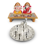 11 Pcs Marble Ganesh Laxmi & Silver Plated Pooja Thali Set with Silver Plated Coin