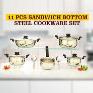 11 Pcs Sandwich Bottom Steel Cookware Set