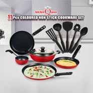11 Pcs Coloured Non Stick Cookware Set