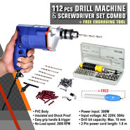 112 Pcs Drill Machine & Screwdriver Set Combo + Free Engraving Tool