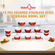 12 Pcs Colored Stainless Steel Storage Bowl Set