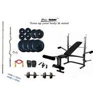 Protoner Weight Lifting Package 50 Kg + Imported Multipurpose Weight Bench (3 Level Incline, Dumbbell Fly & Leg Raise)