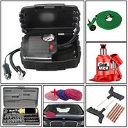 Combo of Multipurpose Toolkit, Air Compressor, Car Jack & Repair Kit, Cleaning Glove & Water Spray Gun