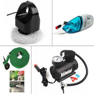Combo of Vacuum Cleaner + Water Spray Gun + Air Compressor + Car Polisher