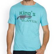 Incynk Half Sleeves Printed Cotton Tshirt For Men_Mht211aq - Aqua