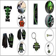 Combo Of Bike Petrol Tank Pad + Full Hand Biking Gloves + Keychain + Stylish Bike Tyre Rim Sticker - Green_WSR27815-2