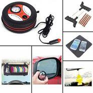 COMBO of Car Tyre Inflator/Compressor, Tubeless Tyre Punture Kit, DVD Holder, Freshner, Blind Spot Mirror and Non-Slip Dash