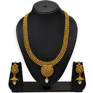 Pourni Traditional Golden Finishing Long Necklace With Stunning Earring For Bridal Jewellery Set_Prnk17