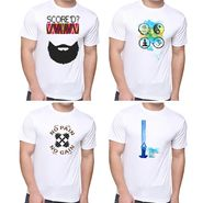 Pack of 4 Oh Fish Graphic Printed Cotton Tshirts_Combo4 - White