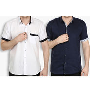 Combo of 2 Stylox Cotton Shirts_3133 - White & Navy
