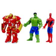The Avengers 3 in 1 Super Power Action Heros Set (Spider-Man, Hulkbuster Armor, Hulk)