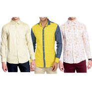Pack of 3 Good Karma Cotton Premium Designer Shirts_Gkc001 - Mulitcolor