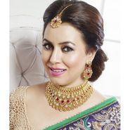Kriaa Mithya Choker Design Maroon Pota stone & Austrian Stone Necklace Set with Maang Tikka_2000507