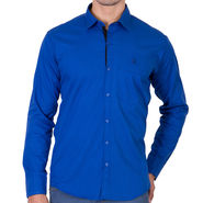 Branded Full Sleeves Cotton Shirt_R218kblu - Blue