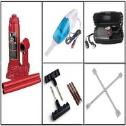 Combo of Car Vacuum Cleaner + 2 Ton Hydraulic Jack + Air Compressor 250 PSI + 4 Way Brace Spanner + Tyre Puncture KIT + Anti Slip Mat