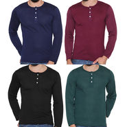 Pack of 4 Rico Sordi Full Sleeves Cotton Henley Tshirts_Rshpk04