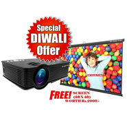 Egate I9 Projector 1500 Lumens + Free Universal Projector Screen 6 X 4 Feet