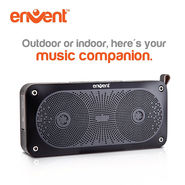 Envent LiveFree 370 Bluetooth Portable Wireless Stereo Speakers with Built in Microphone for Handfree Phone Call (Black)