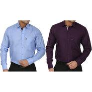Pack of 2 Fizzaro Regular Fit Cotton Shirts For Men_Fs203208 - Dark Purple & Blue