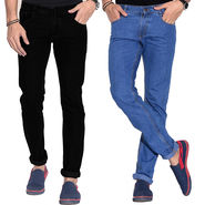 Pack of 2 Fizzaro Faded Plain Regular Fit Jeans_Fzcjbksbu - Black & Sky Blue