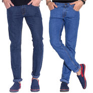Pack of 2 Fizzaro Faded Plain Regular Fit Jeans_Fzcjsbu2 - Blue & Sky Blue