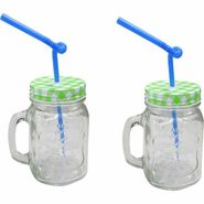 Blue Birds USA Homeware Straw Jar Glass Mug  250 ml