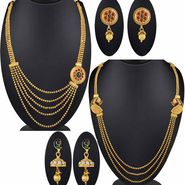 Set of 2 Spargz Jewellery Gold Plated Antique Peacock Necklace Collection Jewellery_Cm568