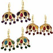 Spargz Combo of 3 Pair Traditional Navaratan Jhumki Earrings_Cm556