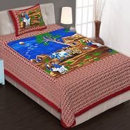 Priya Fashions Cotton King Size Jaipuri Printed 1 Single Bedsheets With 1 Pillow Covers-70X100B2