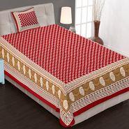 Priya Fashions Cotton King Size Jaipuri Printed 1 Single Bedsheets With 1 Pillow Covers-70X100B24