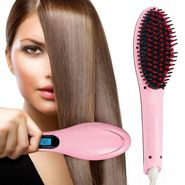 Nova Ceramic Hot Iron Hair Detangling & Straightening Brush - Pink