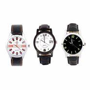 Combo of 3 Analog Round Dial Wrist Watches_Wco8 - White & Black