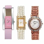 Set of 3 Oleva Women Leather Watches_Osc200