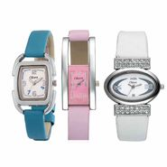 Set of 3 Oleva Women Leather Watches_Osc203