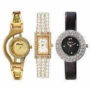 Set of 3 Oleva Women Leather Watches_Osc204