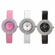 Set of 3 Oleva Women Leather Watches_Osc205