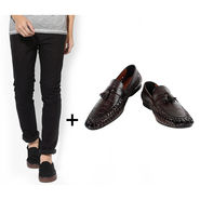 Combo of Stylish Slim Fit Jeans + Formal Shoes_Os195