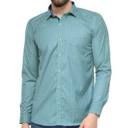 Being Fab Polycotton Full Sleeves Checks Shirt_Bf01 - Green